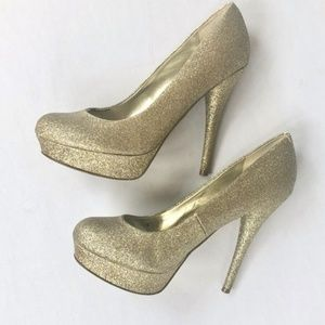 GUESS WGKarise Gold Glitter High Heels Pumps 6.5